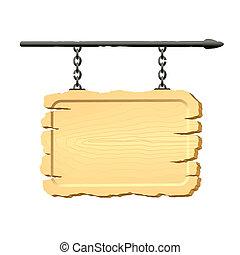 signboard, cadenas, ahorcadura