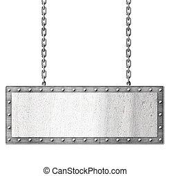 signboard, cadenas, metal, aislado, ahorcadura