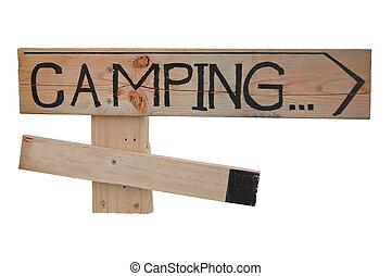 signboard, campamento