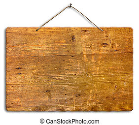 signboard - clipping path - empty wooden signboard hanging...