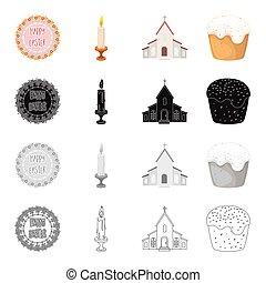 signboard, con, pascua feliz, abrasador, vela, church., pascua, pastel, conjunto, colección, iconos, en, caricatura, negro, monocromo, contorno, estilo, vector, símbolo, acción, isométrico, ilustración, web.