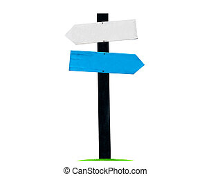 Signboard / guide post Made of wood, painted in white and blue isolated on white background, with clipping path