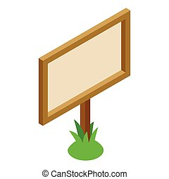 Signboard in the grass 3D isometric icon