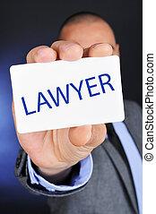 signboard, mostrando, palavra, advogado, homem