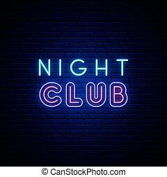 signboard., nuit, néon, club