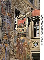 signboard of restaurant, Stein am Rhein, Switzerland