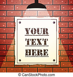 Vector tavern signboard template on brick wall background. Tavern ...