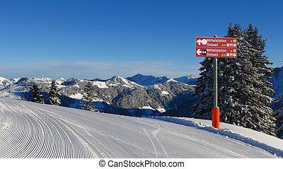 Signboard on top of Mt Wispile, ski area