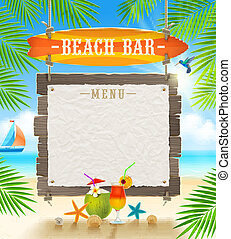 signboard, playa tropical, barra