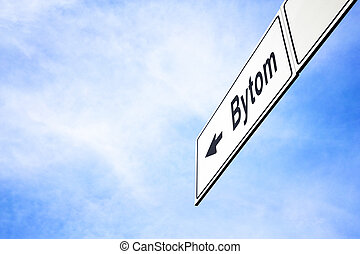 Signboard pointing towards Bytom