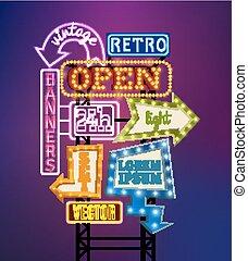 signboard, retro, ilustração