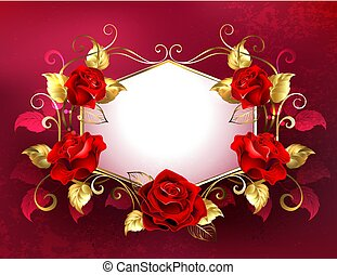 Signboard with jewelry red roses