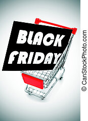 a black signboard with the text black friday written in white, in a shopping cart