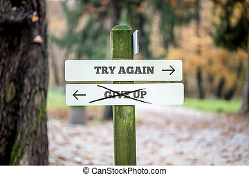 Signboard with two signs saying - Try again - Give up -...