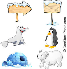 Signboards, animals and an igloo at the north pole -...