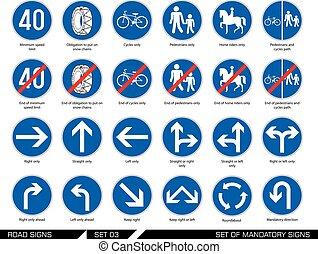 signboards., conjunto, camino, signs.