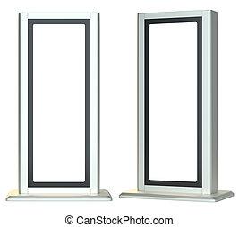 signboards., vuoto, o, isolato, lightboxes