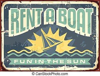 signe, étain, conception, retro, loyers, bateau