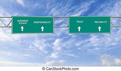 signe, éthique, business, route