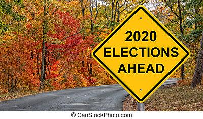 signe, 2020, devant, élections, avertissement