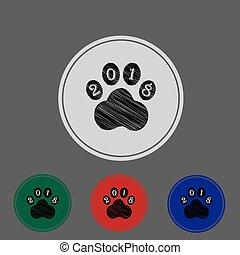 signe, 4, icône, chien, patte