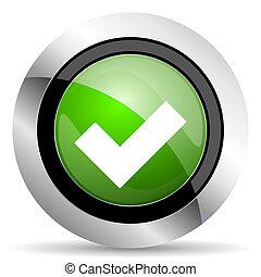signe, accepter, vert, bouton, chèque, icône