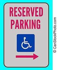 signe, accessible, droite flèche, réservé, vecteur, stationnement