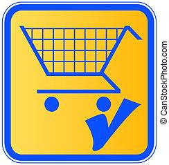 signe, achats, marque, charrette, chèque