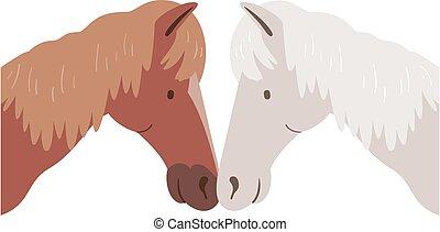 signe, affection, illustration, cheval, nez, frotter