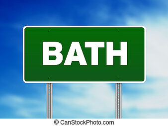 signe, angleterre, bain, route, -, vert