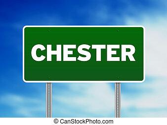 signe, angleterre, route, -, chester, vert