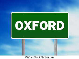 signe, angleterre, route, -, oxford, vert