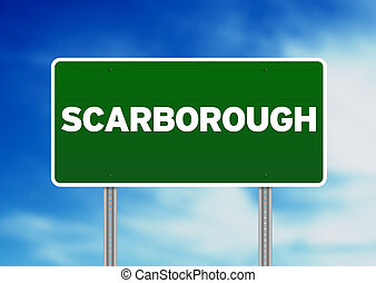 signe, angleterre, route, -, scarborough, vert