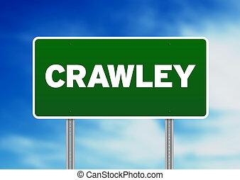 signe, angleterre, route, -, vert, crawley
