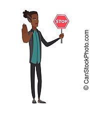 signe., arrêt, jeune, tenue, africaine, homme affaires, route