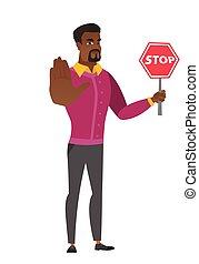 signe., arrêt, tenue, africaine, homme affaires, route