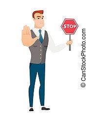 signe., arrêt, tenue, homme affaires, caucasien, route