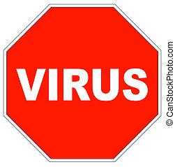 signe, arrêt, virus, mot, forme