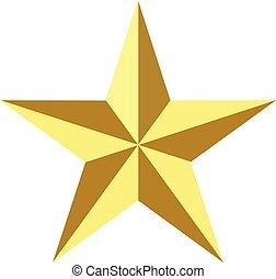 signe., arrière-plan., symbole., étoile, toile, icône, noël, plat, conception, ui., site, doré, logo, style., ton, or, app, élégant, blanc