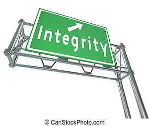 signe, autoroute, réputation, vertu, confiance, intégrité,...