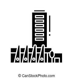 signe., bâtiments, noir, plat, icône, illustration, symbole, concept, vecteur, glyph