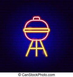 signe, barbecue, néon, gril