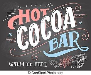 signe barre, cacao, chaud, tableau, fond