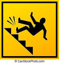 signe, bas, vecteur, tomber, escalier, homme