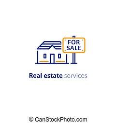 signe bien immobilier, maison, vente, concept, propriété, icône