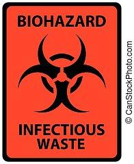 signe., biohazard, infectieux, signe, sécurité, orange, noir...
