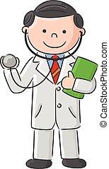 signe blanc, dessin animé, tenue, docteur
