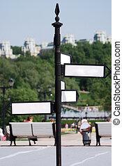 signe blanc, flèche, directionnel