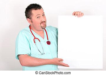 signe blanc, haut, tenue, docteur