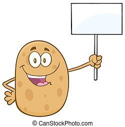 signe blanc, haut, tenue, pomme terre